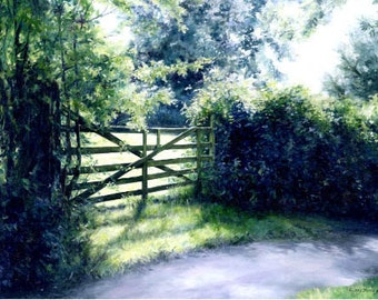 Meadow Gate - Landscape Print by Kirsty Bonning