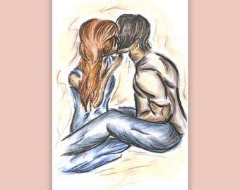 Sarika and Kamal- Chalk Pastel Drawing