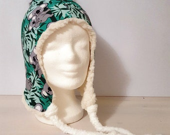 Winter hat for children with fur PomPoms one size