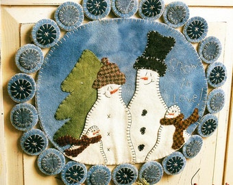Folk Art Snowman Couple Penny Rug Sewing Pattern Primitive Winter Snow Family Penny Rug Pattern Printable PDF Instant Download