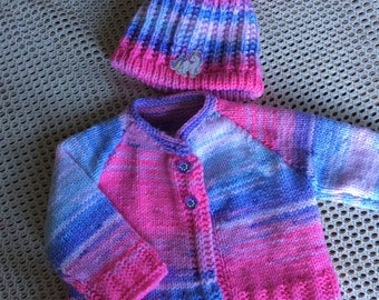 Hand Knitted Baby gift set. Cardigan and hat