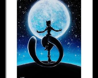 Digital Copy)Mewtwo under the moon Pokemon Painting
