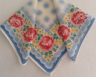 Vintage Handkerchief / Roses & Stars