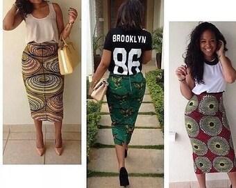 Ankara Fitted Pencil Skirt