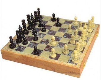 Unique Chess Set- Handcarved from Soapstone