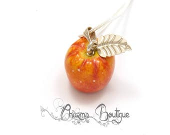 Apple Necklace Polymer Clay Apple Lovely Apple Pendant Apple Jewelry Miniature Apple Dainty Neklace Charm Gift for Her Valentines Day Gift