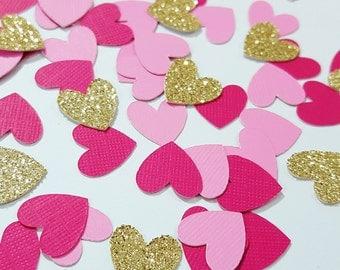 100 pcs Light Pink, Dark Pink, Gold/Silver Glitter Heart Confetti / Valentine's Day Confetti / Baby Shower / Bridal Shower / 1st Birthday