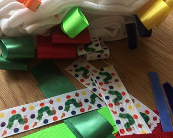 """Large white muslin with ribbon taggies """"the hungry caterpillar"""" theme"""