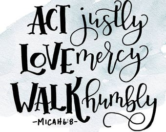 Micah 6:8 Printable Instant Download. Inspirational Quote. Scripture.
