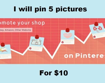 Promote your shop on Pinterest, I will pin your 5 pictures with my 12 accounts, each account has 10k-20k followers