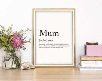 Mum Wall Print - Wall Art, Home Decor, Mothers Day Print, Parent Print