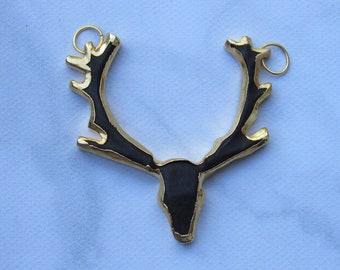 Matte Black Deer Head Pendant