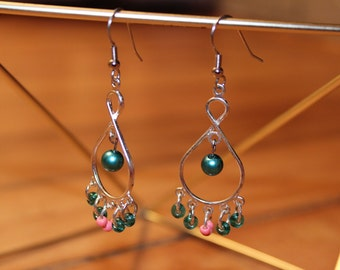Silver chandelier hoop earrings with blue and pink beaded dangles