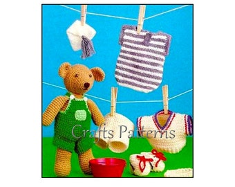 Teddy Crochet Pattern, bear, heandband, shorts, sneakers, nightcap, overalls and more
