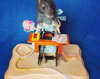 Taxidermy rat/seamstress/anthropomorphic