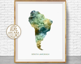 South America Print, South America Map, Map of South America, USA Map Wall Art Print Travel Map, Travel Decor, Office Decor, Office Wall Art