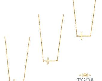 Yellow Gold Sideways Cross Necklace, Gold Cross Necklace, Sterling Silver Cross Necklace, Cross Jewelry, Religious Jewelry, Wedding Jewelry