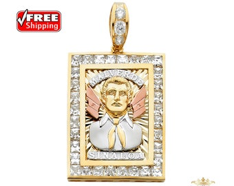 14K Solid Gold  CZ Malverde Sinaloa Pendant