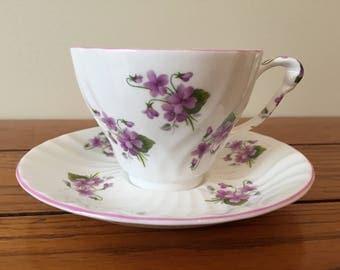 Violet teacup and saucer