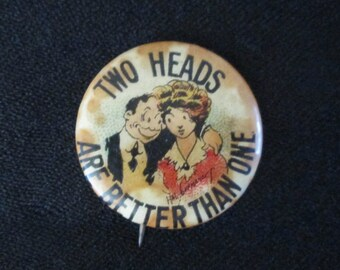 """Original Vintage 1900s Humor Hassan Cigarettes Advertising Pinback: """"Two Heads Are Better Than One"""""""