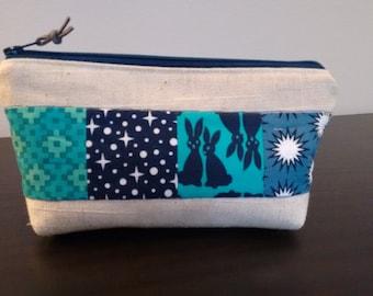 Zipper Pouch, Linen, Toiletry Bag, Make-Up Bag, Blue Pouch, Patchwork Pouch, Teal, Blue