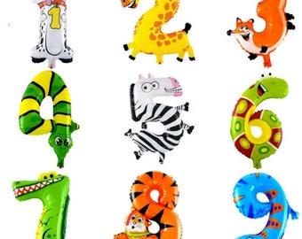 Animal Balloons, Safari Balloons, Zoo Animal Balloons, Number Balloons, Kids Party