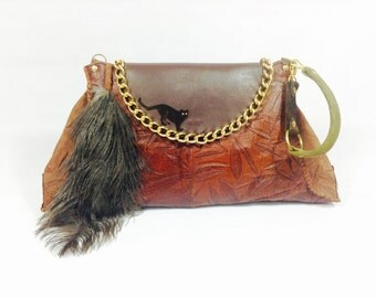 Brown Genuine Leather Large Clutch Bag Handbag