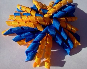 Royal Bllue and Gold Corker Hair Bow blue and yellow korker ready to ship