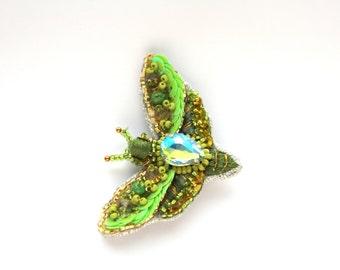 Brooch Butterfly, Brooch Moth, Brooch Handmade, Insect Jewelry, Brooch Moth, Pin Butterfly, Beaded Brooch, Green Brooch