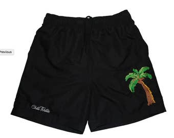 New Under the Palm Mens Swim Trunks Black Chill Thrills Shorts