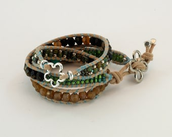 Leather Triple wrap with Picasso, Sea glass, and silver beads