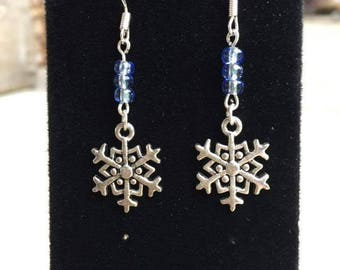 Silver Snowflake Earrings, Winter, Charm Earrings, Snowflake, Fantasy, Frozen, Ice, Blue