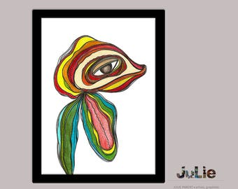 The marabout, printed poster, drawing pencils of wood digital, abstract, colorful, easy to manage, design, decoration
