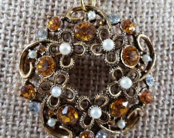 Vintage Amber Topaz and Pearl up cycled brooch pendant necklace