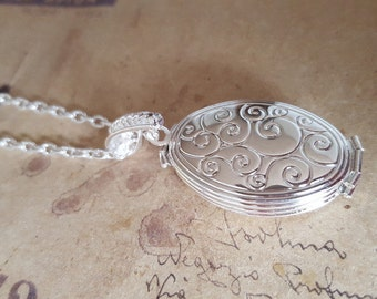 Oval medallion necklace for 4 pictures ~ silver ~