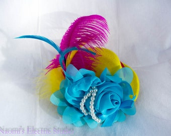 Mini Top Hat, Fascinator, Hair Clip, Rainbow , Spring, Easter, Mad Hatter, Tea Party, Photo Prop, Cake Smash