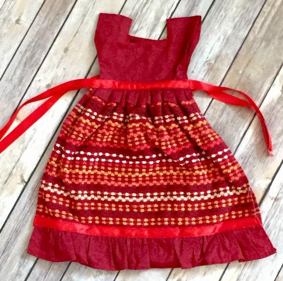 Handmade Red Dress Kitchen Towel, Cute Kitchen Decor