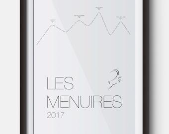 A4 Les Menuires Ski Resort Poster Art