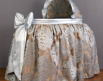 Blue & Taupe Damask Silk Bassinet