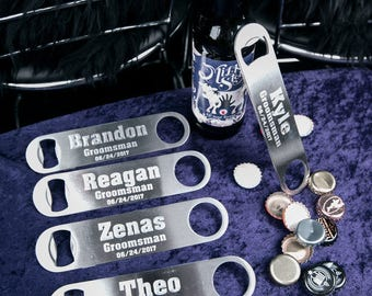 Personalized groomsmen bottle opener, groomsmen gift. Custom Bottle opener for groomsmen gift. Custom engraved beer opener for wedding party