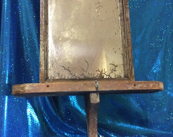 Antique Shaving Mirror Plank Backed