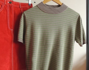 FREE SHIPPING - Vintage Jarvi MUOTI 100% silk green, khaki striped Silk top