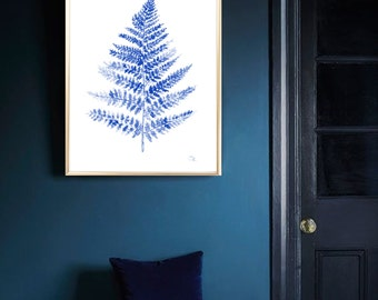 Fern Blue watercolor print  Art print Fern Wall decor Botanical watercolor print Blue Fern Leaf home decor Blue Fern poster