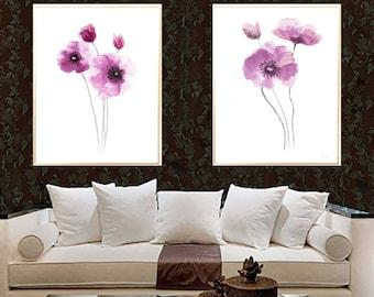 Poppy pink Poppy art print Poppy watercolor painting Poppy home decor Poppy Set 2 Poppies Abstract flower poppy wall decor poppy minimalist