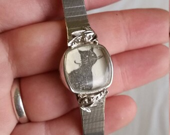 Black Cat Upcycled Watch