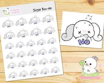 No/ No Way Sugar Bun the Bunny Emotions Planner Stickers