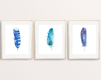 Feather Print Set Of 3 Feather Printable Feathers Poster Blue Feathers Dorm Decor Bohemian Print Tribal Wall Art Watercolor Feathers Print