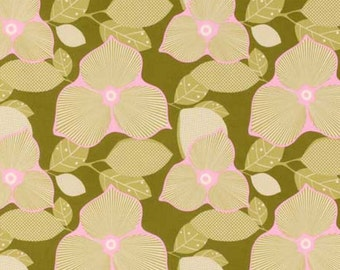 AB27 Olive Fabric Amy Butler Midwest Modern 2 - Optic Blossum
