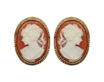 Earrings VINTAGE Clips - cameo