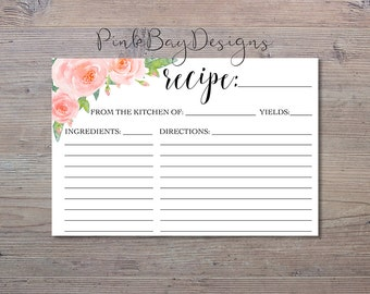 Watercolor Floral Recipe Card, Bridal Shower Recipe Card, Floral Recipe Card, Bridal Shower Print, Instant Download